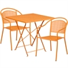 28'' Square Orange Indoor-Outdoor Steel Folding Patio Table Set with 2 Round Back Chairs