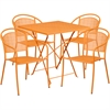 28'' Square Orange Indoor-Outdoor Steel Folding Patio Table Set with 4 Round Back Chairs