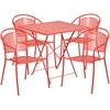 28'' Square Coral Indoor-Outdoor Steel Folding Patio Table Set with 4 Round Back Chairs