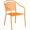 Orange Indoor-Outdoor Steel Patio Arm Chair with Round Back