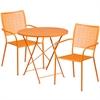 30'' Round Orange Indoor-Outdoor Steel Folding Patio Table Set with 2 Square Back Chairs