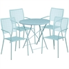 Flash Furniture 30'' Round Sky Blue Indoor-Outdoor Steel Folding Patio Table Set with 4 Square Back Chairs