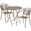 Flash Furniture 30'' Round Gold Indoor-Outdoor Steel Folding Patio Table Set with 2 Round Back Chairs