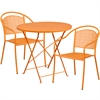 30'' Round Orange Indoor-Outdoor Steel Folding Patio Table Set with 2 Round Back Chairs