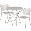 Flash Furniture 30'' Round Light Gray Indoor-Outdoor Steel Folding Patio Table Set with 2 Round Back Chairs