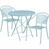 Flash Furniture 30'' Round Sky Blue Indoor-Outdoor Steel Folding Patio Table Set with 2 Round Back Chairs