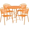 30'' Round Orange Indoor-Outdoor Steel Folding Patio Table Set with 4 Round Back Chairs