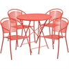 Flash Furniture 30'' Round Coral Indoor-Outdoor Steel Folding Patio Table Set with 4 Round Back Chairs