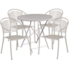 Flash Furniture 30'' Round Light Gray Indoor-Outdoor Steel Folding Patio Table Set with 4 Round Back Chairs