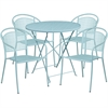 30'' Round Sky Blue Indoor-Outdoor Steel Folding Patio Table Set with 4 Round Back Chairs