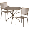 Flash Furniture 35.25'' Round Gold Indoor-Outdoor Steel Patio Table Set with 2 Square Back Chairs