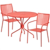 Flash Furniture 35.25'' Round Coral Indoor-Outdoor Steel Patio Table Set with 2 Square Back Chairs