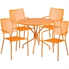35.25'' Round Orange Indoor-Outdoor Steel Patio Table Set with 4 Square Back Chairs