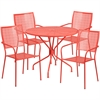 Flash Furniture 35.25'' Round Coral Indoor-Outdoor Steel Patio Table Set with 4 Square Back Chairs