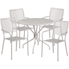 35.25'' Round Light Gray Indoor-Outdoor Steel Patio Table Set with 4 Square Back Chairs