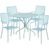 Flash Furniture 35.25'' Round Sky Blue Indoor-Outdoor Steel Patio Table Set with 4 Square Back Chairs