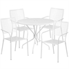 35.25'' Round White Indoor-Outdoor Steel Patio Table Set with 4 Square Back Chairs