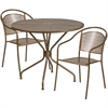 Flash Furniture 35.25'' Round Gold Indoor-Outdoor Steel Patio Table Set with 2 Round Back Chairs