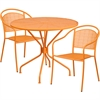 35.25'' Round Orange Indoor-Outdoor Steel Patio Table Set with 2 Round Back Chairs