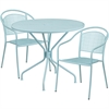 Flash Furniture 35.25'' Round Sky Blue Indoor-Outdoor Steel Patio Table Set with 2 Round Back Chairs
