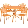 Flash Furniture 35.25'' Round Orange Indoor-Outdoor Steel Patio Table Set with 4 Round Back Chairs