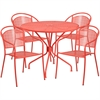 35.25'' Round Coral Indoor-Outdoor Steel Patio Table Set with 4 Round Back Chairs