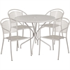 35.25'' Round Light Gray Indoor-Outdoor Steel Patio Table Set with 4 Round Back Chairs