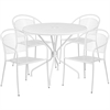 35.25'' Round White Indoor-Outdoor Steel Patio Table Set with 4 Round Back Chairs