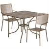Flash Furniture 35.5'' Square Gold Indoor-Outdoor Steel Patio Table Set with 2 Square Back Chairs