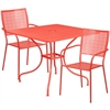 Flash Furniture 35.5'' Square Coral Indoor-Outdoor Steel Patio Table Set with 2 Square Back Chairs