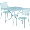 35.5'' Square Sky Blue Indoor-Outdoor Steel Patio Table Set with 2 Square Back Chairs