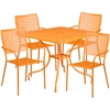 35.5'' Square Orange Indoor-Outdoor Steel Patio Table Set with 4 Square Back Chairs