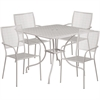 35.5'' Square Light Gray Indoor-Outdoor Steel Patio Table Set with 4 Square Back Chairs