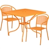 Flash Furniture 35.5'' Square Orange Indoor-Outdoor Steel Patio Table Set with 2 Round Back Chairs