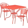 Flash Furniture 35.5'' Square Coral Indoor-Outdoor Steel Patio Table Set with 2 Round Back Chairs