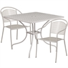 35.5'' Square Light Gray Indoor-Outdoor Steel Patio Table Set with 2 Round Back Chairs