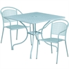 35.5'' Square Sky Blue Indoor-Outdoor Steel Patio Table Set with 2 Round Back Chairs