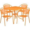 35.5'' Square Orange Indoor-Outdoor Steel Patio Table Set with 4 Round Back Chairs