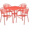 Flash Furniture 35.5'' Square Coral Indoor-Outdoor Steel Patio Table Set with 4 Round Back Chairs