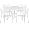 Flash Furniture 35.5'' Square White Indoor-Outdoor Steel Patio Table Set with 4 Round Back Chairs