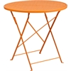 Flash Furniture 30'' Round Orange Indoor-Outdoor Steel Folding Patio Table