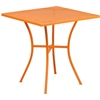 Flash Furniture 28'' Square Orange Indoor-Outdoor Steel Patio Table