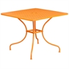 35.5'' Square Orange Indoor-Outdoor Steel Patio Table