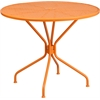 35.25'' Round Orange Indoor-Outdoor Steel Patio Table