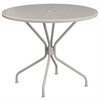 Flash Furniture 35.25'' Round Light Gray Indoor-Outdoor Steel Patio Table