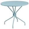 Flash Furniture 35.25'' Round Sky Blue Indoor-Outdoor Steel Patio Table