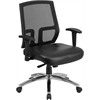 HERCULES Series 400 lb. Capacity Big & Tall Mesh Mid-Back Executive Swivel Chair with Black Leather Seat and Height Adjustable Arms