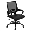 Flash Furniture Mid-Back Black Mesh Swivel Task Chair with Black Leather Padded Seat