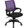 Mid-Back Purple Mesh Swivel Task Chair with Black Leather Padded Seat
