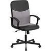 Flash Furniture Mid-Back Black Vinyl and Light Gray Mesh Racing Executive Swivel Office Chair